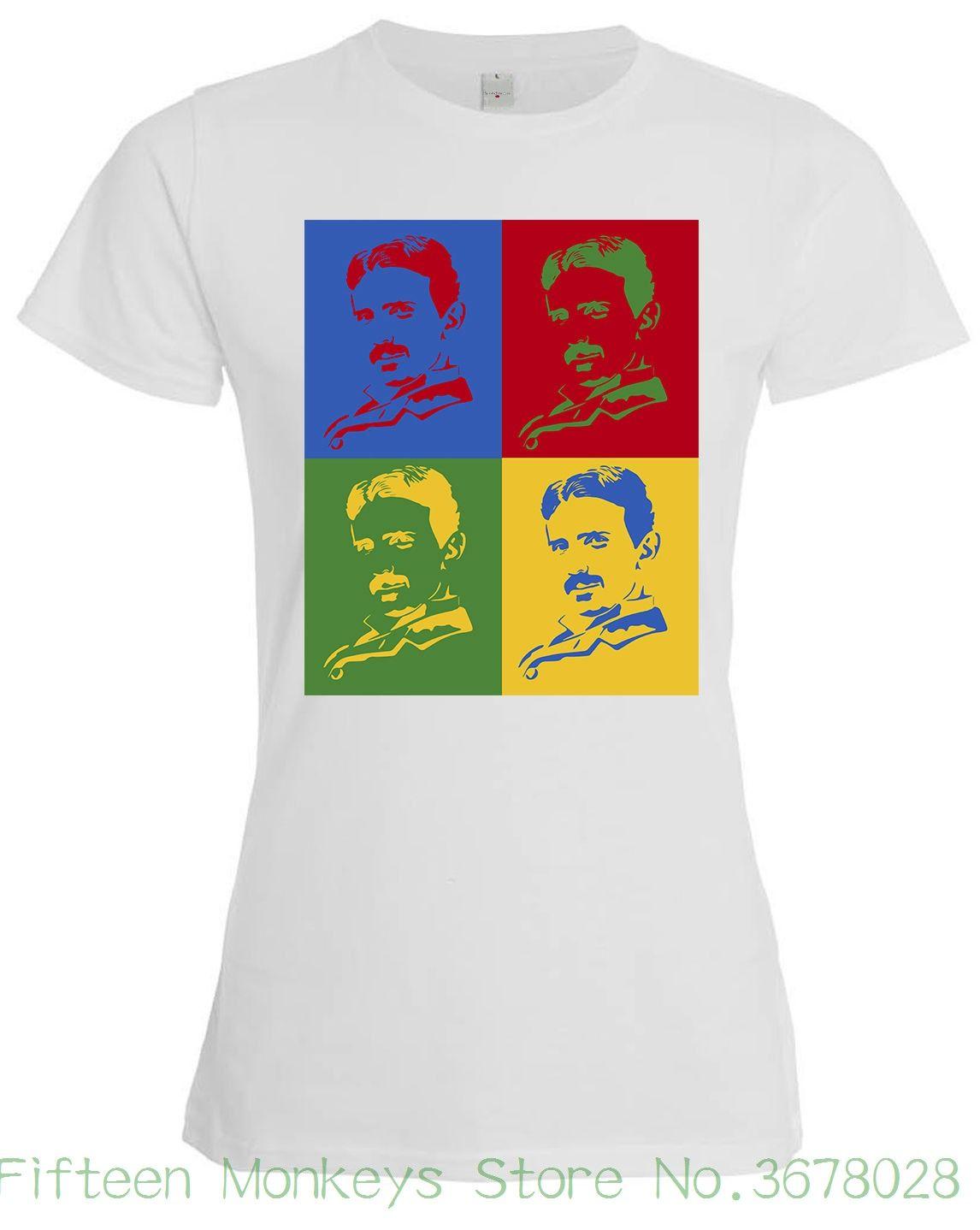 7147166f10cf6 Compre T Das Mulheres Nicola Tesla Famoso Inventer Arte Da Ciência  Engraçado Roupas Femininas Camisa Branca T 2018 Verão Novo De  Fifteenmonkeysstore
