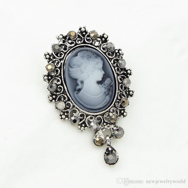 Vintage elegante dama camafeo broche colgante de cristal pendiente caliente cuelga la joyería de las mujeres broche corsé señora Hijab desgaste Pin