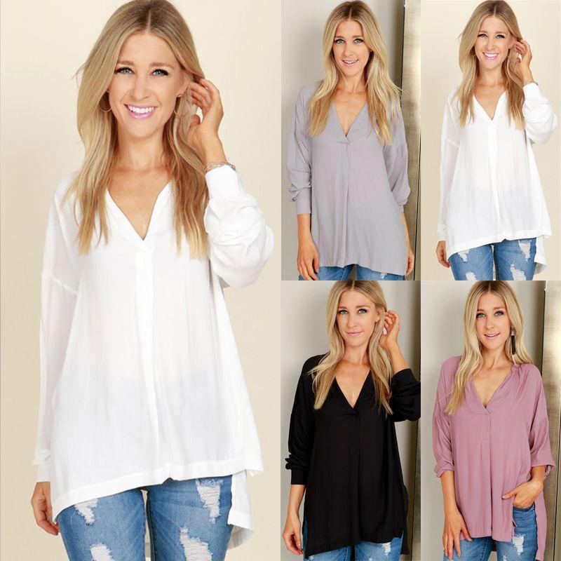 2b41a2e6ac181 2019 Thefound New Stylish Women Summer Plain Long Sleeve Casual Chiffon  Blouse Loose Tops