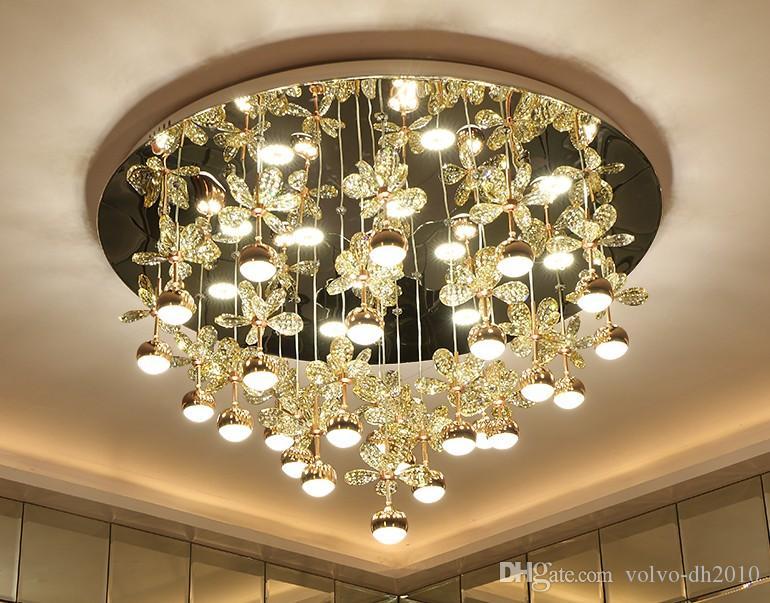 Acquista lampadario led rotondo lampada di cristallo moderno