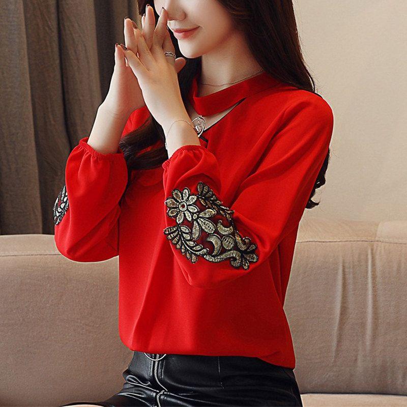 894739568ea Compre 2019 Moda Para Mujer Tops Y Blusas Otoño Blusa De Gasa De Manga  Larga Señoras Tops Bordado Camisas De Las Mujeres Rojo Blanco Blusa Mujer A   26.73 ...