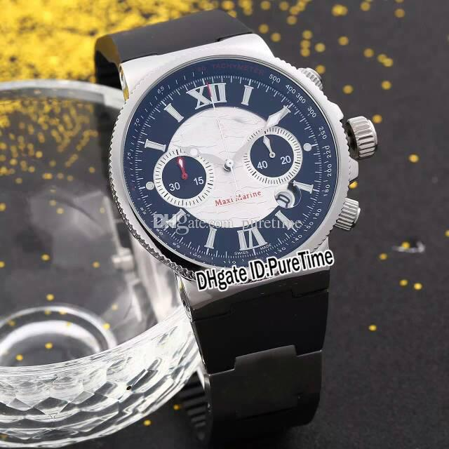 New 45mm Marine Blue Seal Limited Edition 353-68LE Steel Case Black/White Dial Quartz Chronograph Mens Watch Rubber Watches Puretime UN66a1
