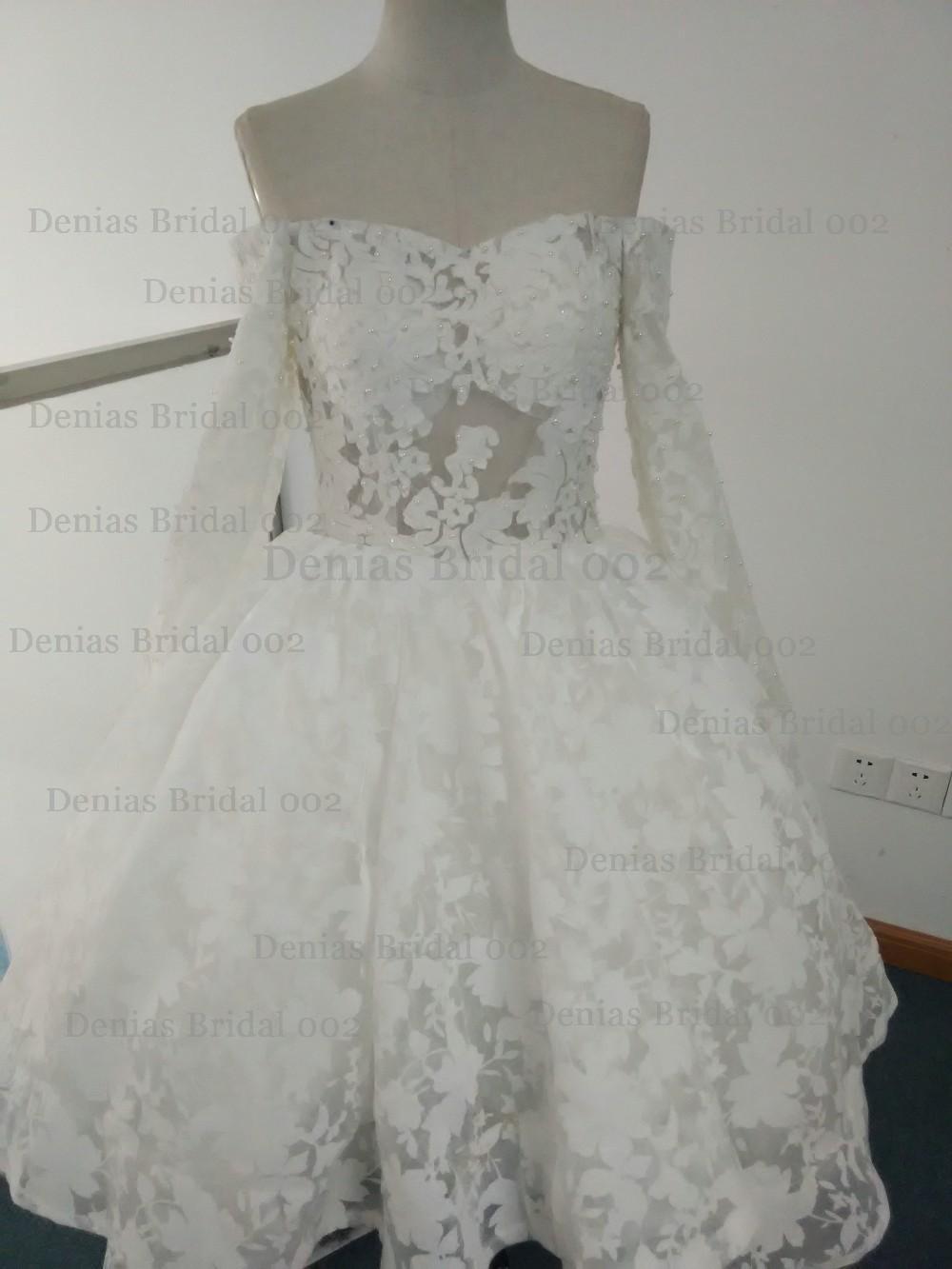 Real Photos vestido de novia 2018 Yousef Aljasmi Myriam Fares Ball Gown Long Sleeve Wedding Dresses