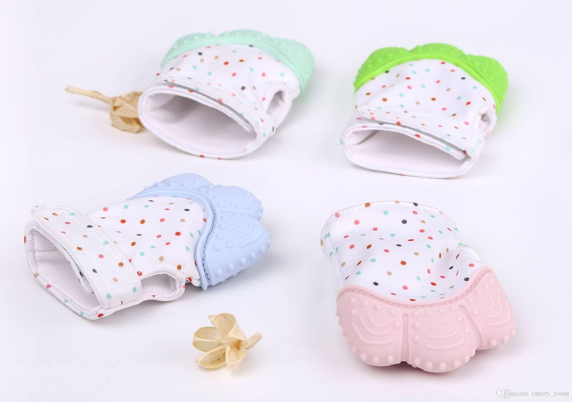 سيليكون الطفل قفازات التسنين القفاز القفاز التسنين مضغ الوليد التمريض عضاضة الخرز الرضع BPA الصوت الحر حلقات التسنين هدية عيد الميلاد A8235