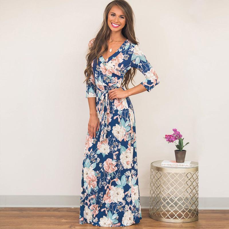 30109f6a6 Fashion Women Long Sleeve Dresses Vintage Flower Print Party Club ...
