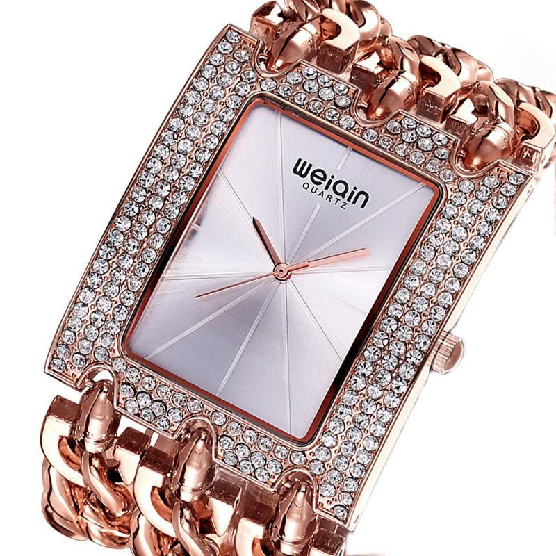 b394a1e10c48 Compre WEIQIN Marca De Lujo De Cristal De Oro Pulsera Relojes De Las  Señoras De Moda Vestido Casual Reloj Mujer Reloj Hora Feminino Nuevo  C18110103 A  40.93 ...