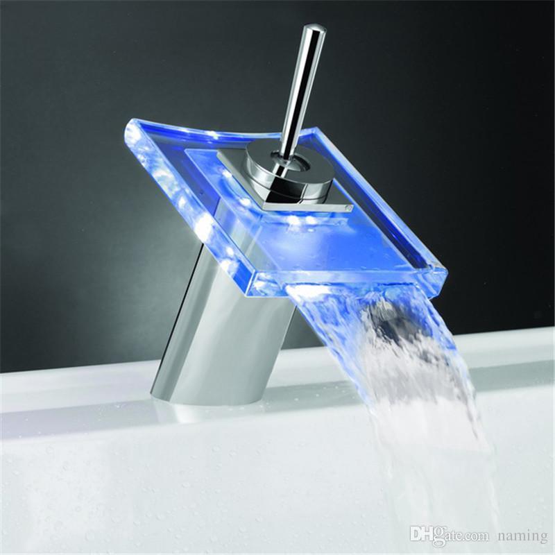 Wasserhahn Beleuchtet großhandel temperatursensor 3 farben beleuchtet led wasserhahn