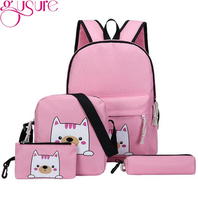 40e2e2fbef Gusure Backpack Women Cute Cat Canvas Bags School Book Zipper Bags Student  Teenagers Girls Shoulder Bag Pen Pouch Best Backpacks Girls Backpacks From  ...