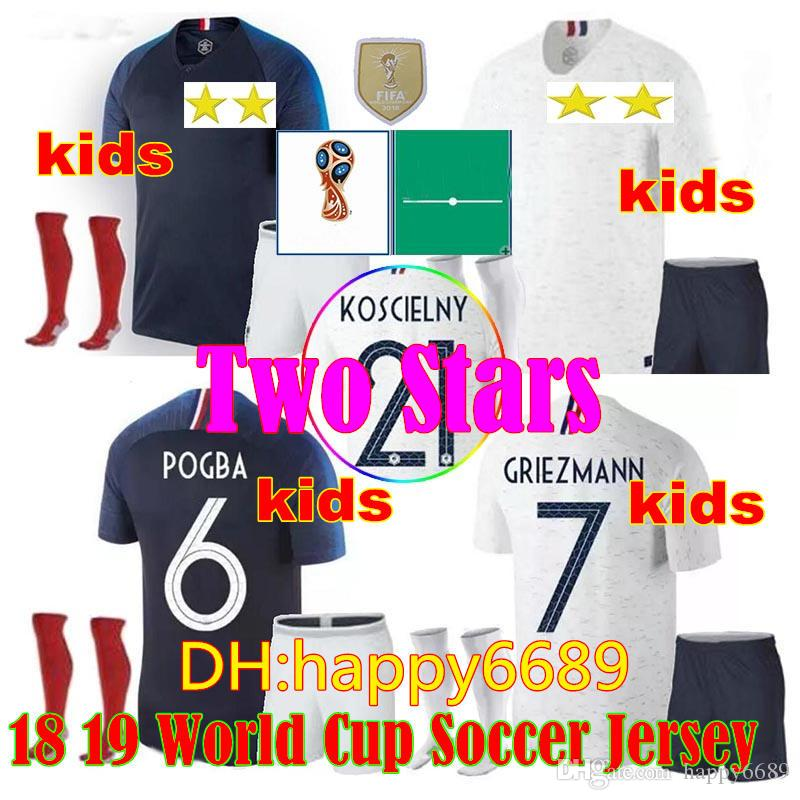 a1ee0f65a2d 2019 Two Stars 2 2018 Kids + Socks Soccer Jerseys World Cup Pogba 18 19  PAYET MBAPPE GRIEZMANN COMAN Child Maillot De Foot Football Jersey Shirts  From ...