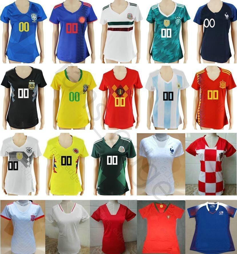 Mujeres Camisetas De Fútbol Colombia México Alemania Argentina Bélgica  España Rusia Japón Marruecos Lady Chica Personalizar 2018 Copa Mundial De  Fútbol Por ... 7bd6864f6c4da