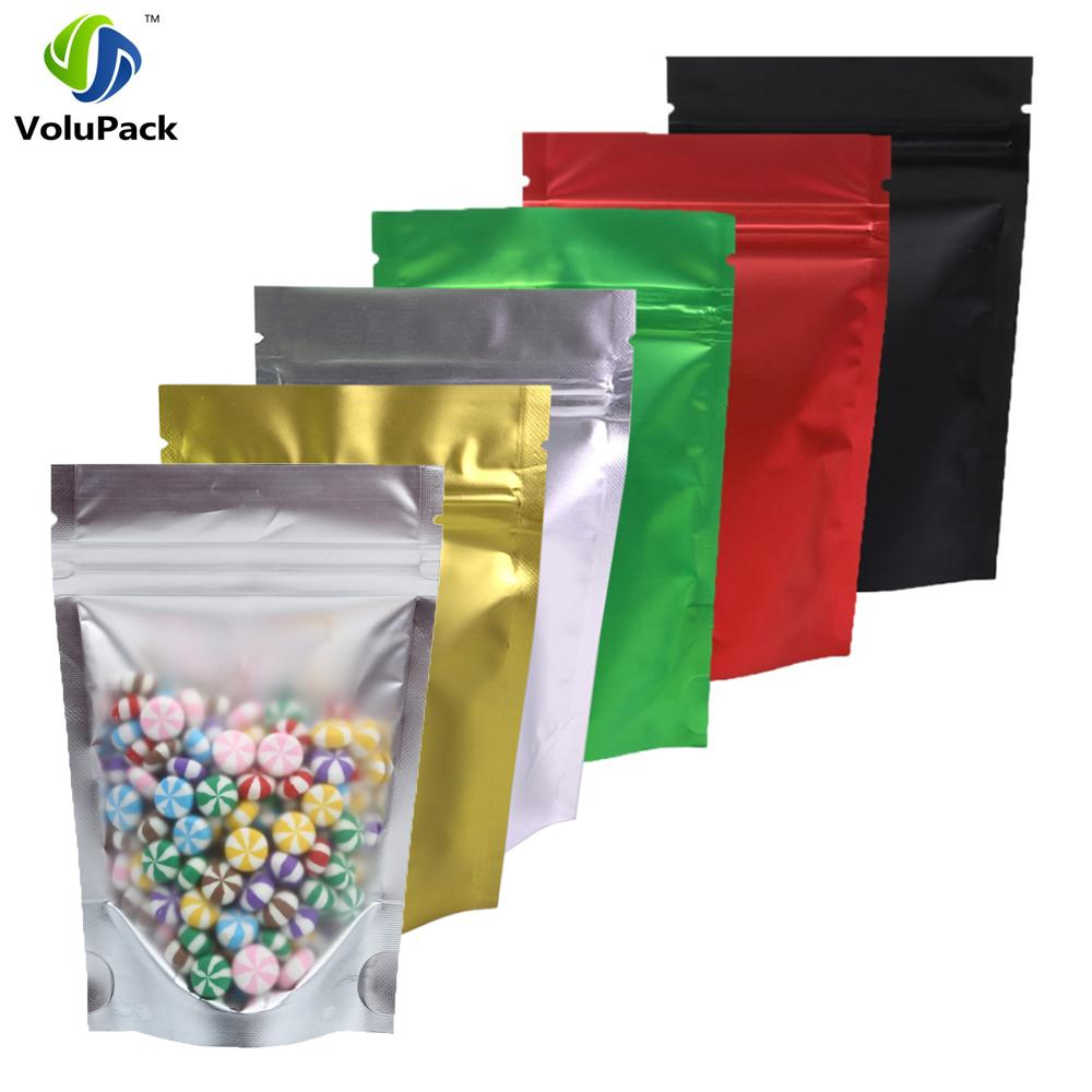 "100pcs 8.5x13cm (3.25x5"") Recyclable Matte Clear Front Ziplock Storage Bags Tear Notch Metallic Mylar Zip Lock Stand Up Pouches"