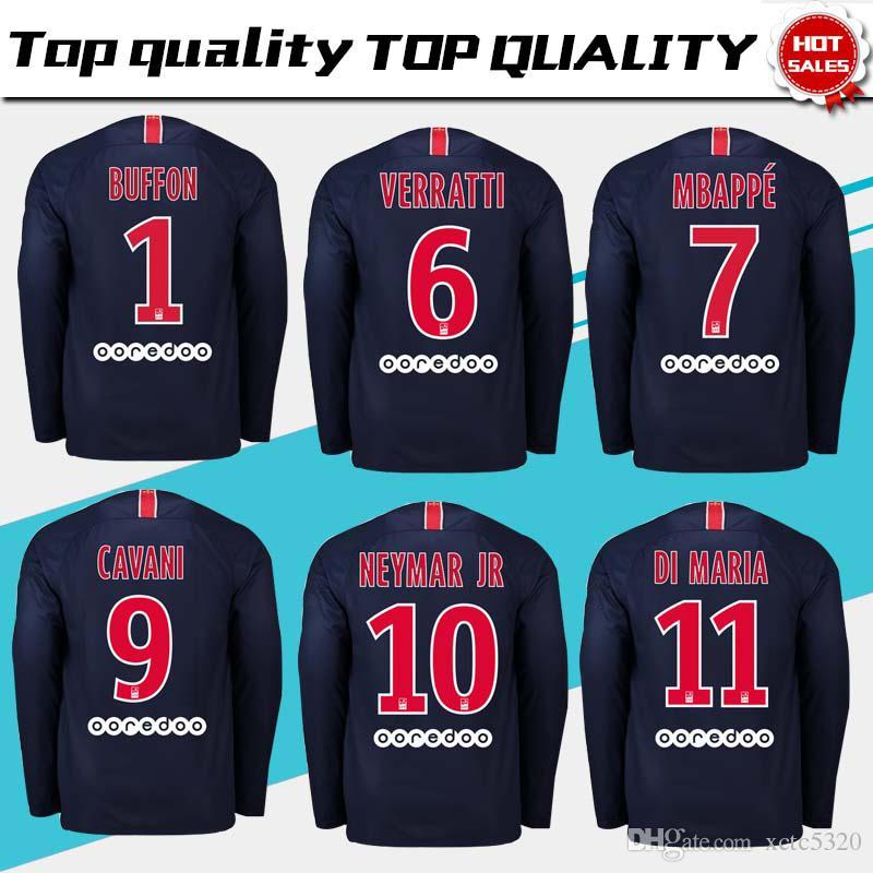 PSG Casa manga comprida Camisas De Futebol 2018 2019   7 MBAPPE Paris Saint-Germain  Camisa De Futebol   10 NEYMAR JR Uniforme De Futebol 2019 tamanho S-3XL d6c9ac58d04
