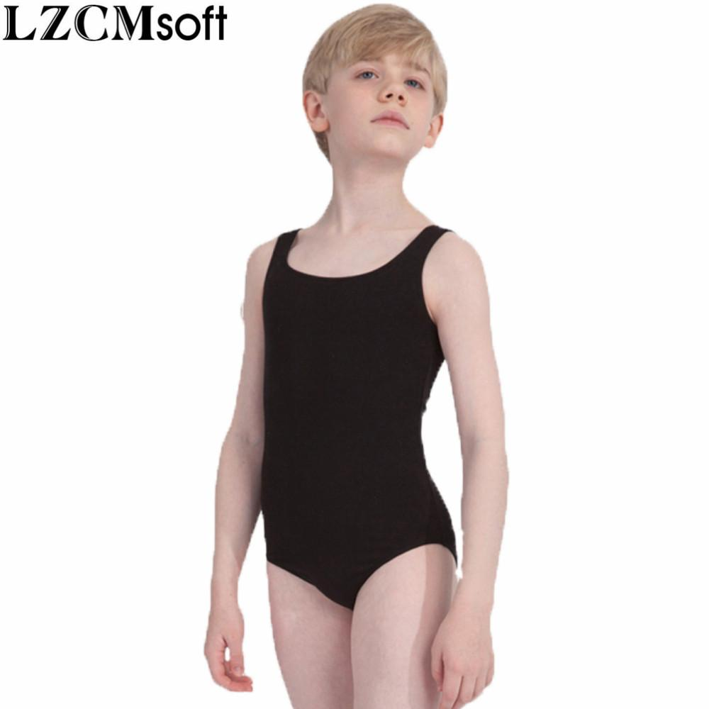 fb109b015 2019 LZCMsoft Boys Black Tank Leotard Kids Spandex Lycra Ballet ...
