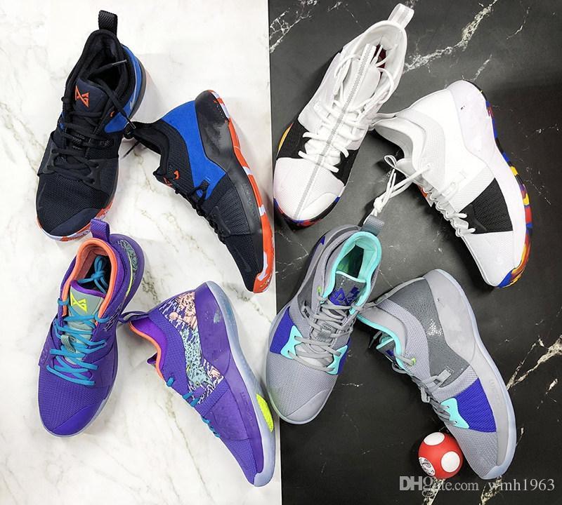 cheaper 6fa9e 20ed6 2018 novo paul george 2 sapatos de basquete para a qualidade ps2 p2  playstation preto azul vermelho branco pg 2s tênis esportivos tamanho 40-46
