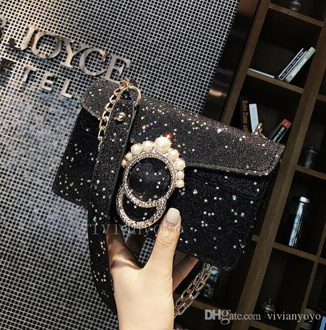 c8aff802e9 Bag Female 2018 New Handbag Sequined Bags Messenger Bags Fashion Wild Pearl  Chain Small Square Bag PU Bags Sequins Bags Online with  65.87 Piece on ...