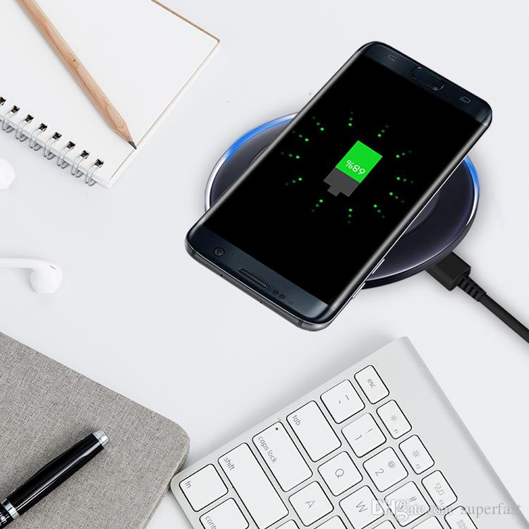 لشحن البطاريات اللاسلكية لشاحن iPhone X Qi لهاتف Samsung Note 8 iPhone 8 Plus Galaxy Note 5 مع كبل USB في صندوق البيع بالتجزئة