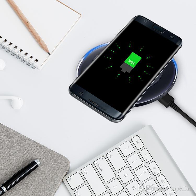 Voor iPhone X QI Draadloze Oplader Pad Draadloos Opladen Koord voor Samsung Note 8 iPhone 8 Plus Galaxy Note 5 met USB-kabel in de detailhandel