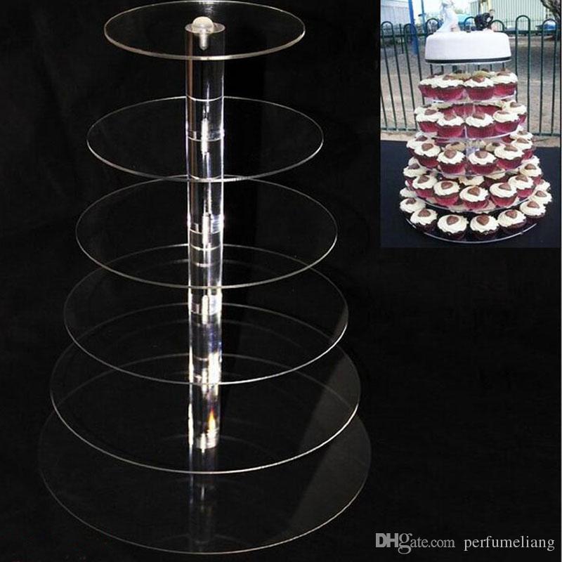 6 Tier Acrílico soporte de la magdalena Soportes de la torta redonda para el banquete de boda Exhibición de la torta Decoración titular de la magdalena ZA5613