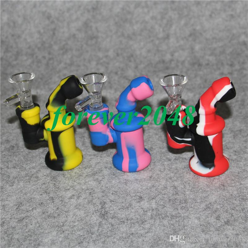 Silicone Bong Water Pipes Camouflage Pure Color Silicone Oil Rigs mini bubbler bong Hookahs Free Glass Bowl nectar collector dabber tools