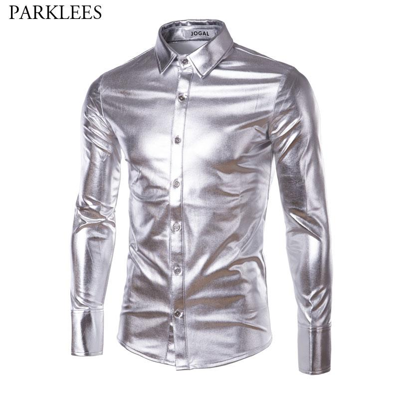 2ae08981253 2019 Mens Metallic Shiny Nightclub Slim Fit Dress Shirt 2018 Brand New Men  Long Sleeve Casual Buon Down Shirt For Disco Party Stage From Cagney