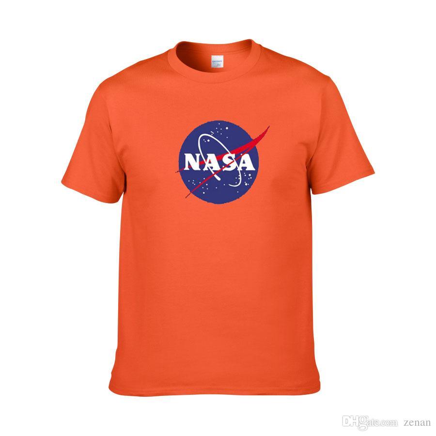 WISHCART NASA Logo Baskı T-shirt Mens Yeni Yaz Kısa Kollu Pamuk Erkekler t gömlek Marka Tasarımcısı Rahat Spor Giyim Tees Tops