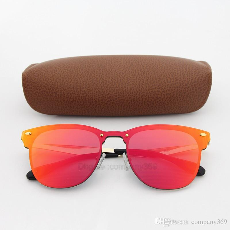 1 unids gafas de sol de calidad superior para las mujeres de moda Vassl diseñador de la marca de oro del marco del metal rojo gafas de sol coloridas gafas vienen caja marrón