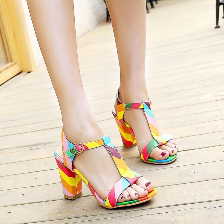 27793b5a59d 2018 New Vintage Elegant Mid Square Heel Women s Sandals Summer ...