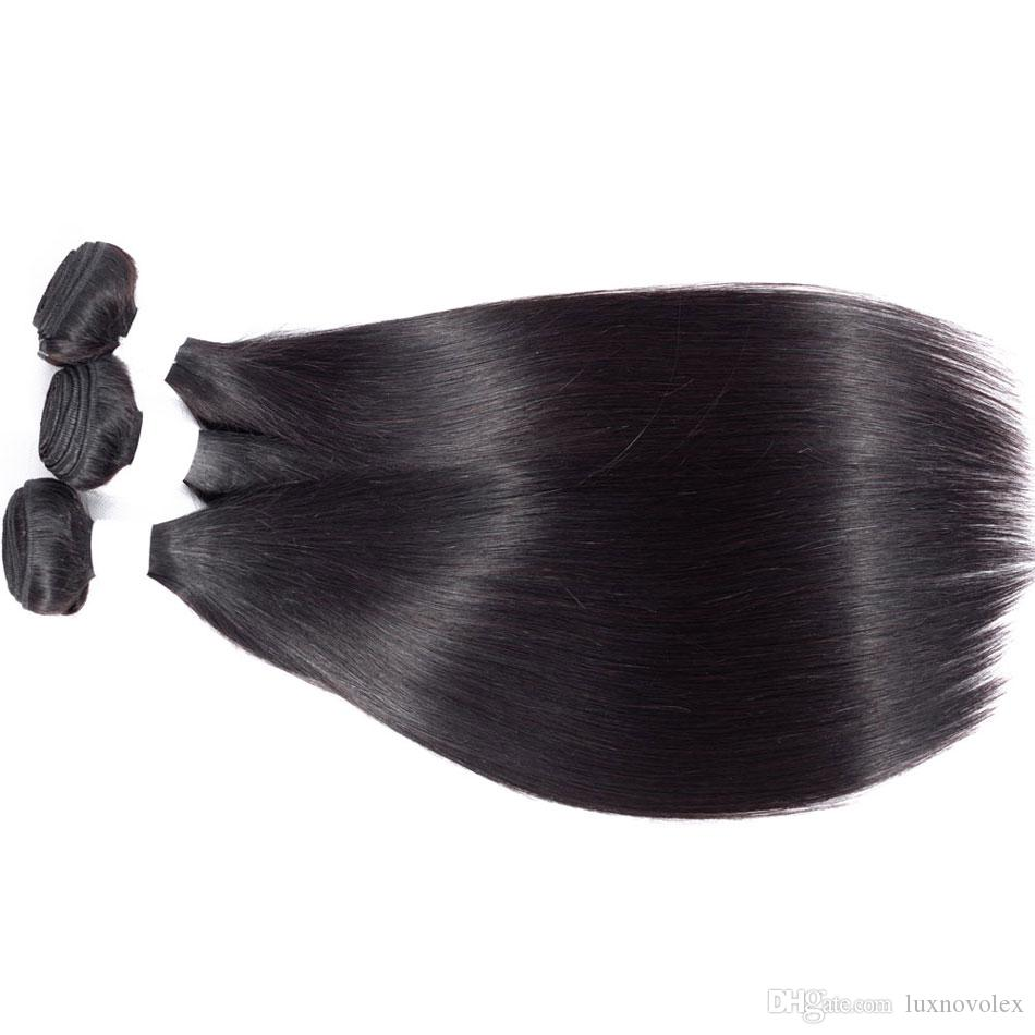 Malaysian Straight Hair Bundles with Closure Unprocessed Virgin Human Hair Weave Bundles With 4X4 Lace Closure Natural Color Hair Extensions