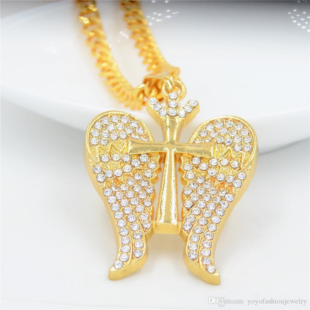 Golden Bling Rhinestone Cross Wing Necklaces Hip Hop Jewelry Chains Men Women Charm Crystal Pendant