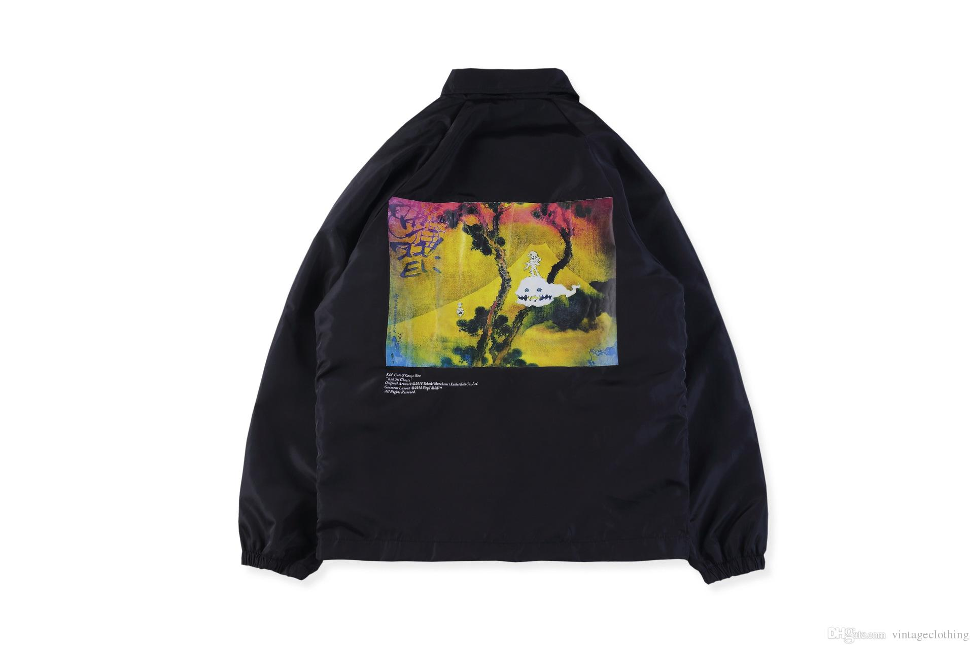 82811eece106 Mens High Street KANYE WEST Button Windbreaker Streetwear Casual Jackets  Coat Fear Of God Hip Hop Black Trench Coats Cool Coats For Men Coats And  Jackets ...