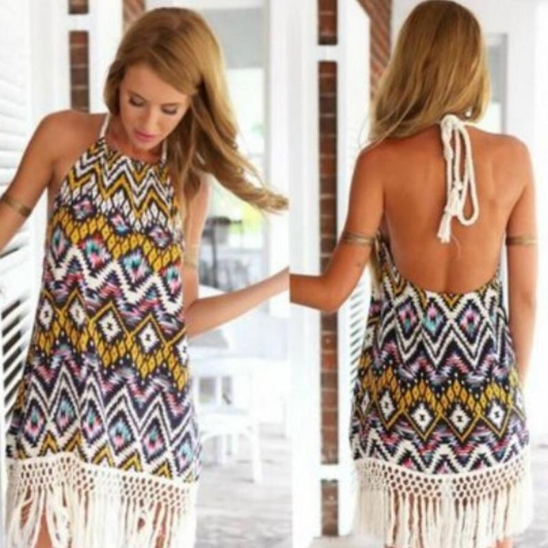 c0f90a05745 2019 Women Casual Loose Sleeveless Tassel Party Dress Vestidos Summer Boho  Style O Neck Beach Sundress Cute Party Dresses Black Party Dress From  Feeling05