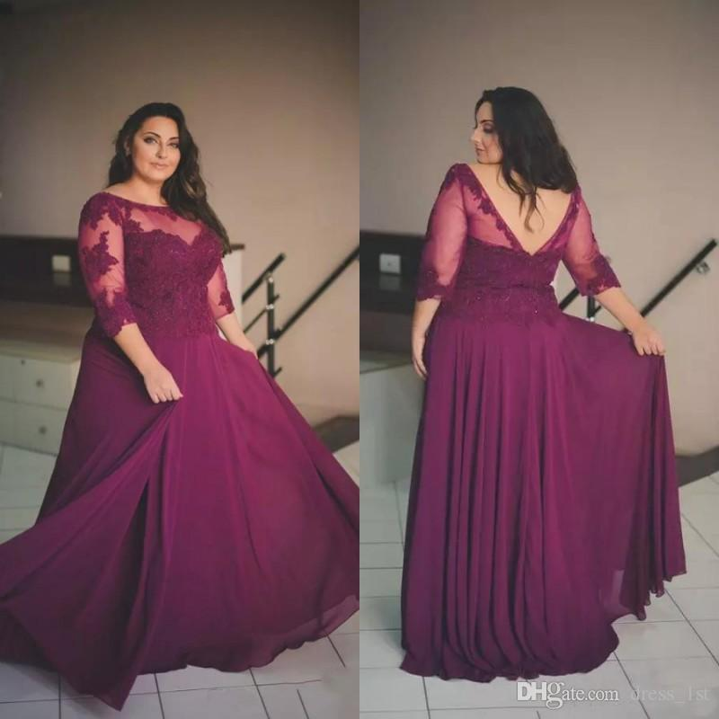 Elegant Plus Size Formal Dresses with Sleeves Scoop Neck A Line Floor  Length Wine Red Lace and Chiffon 2018 Plus Size Prom Dresses