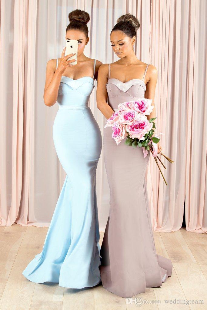 Bastante sirena Longitud País damas de correas espaguetis huésped de la boda vestido de suelo raso largo barato Criada de los vestidos