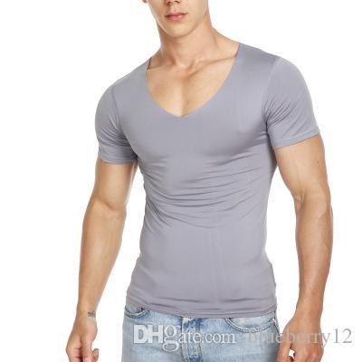 T-shirt a manica corta estiva in cotone T-shirt con scollo a V senza cuciture maschile T-shirt sottile aderente la gioventù
