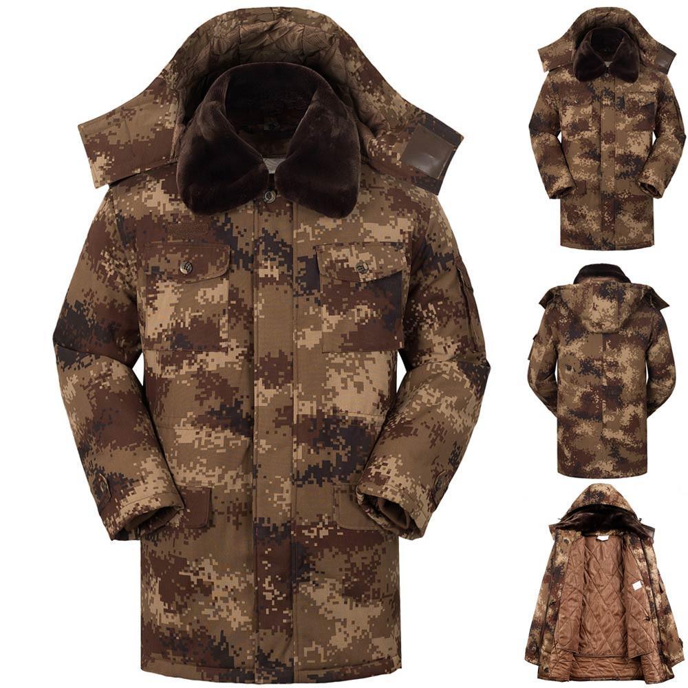 Mens hiver chaud 2018 manteau de laine épaissie camouflage Pull Outwear hommes vestes et manteaux en cuir erkek mont streetwear