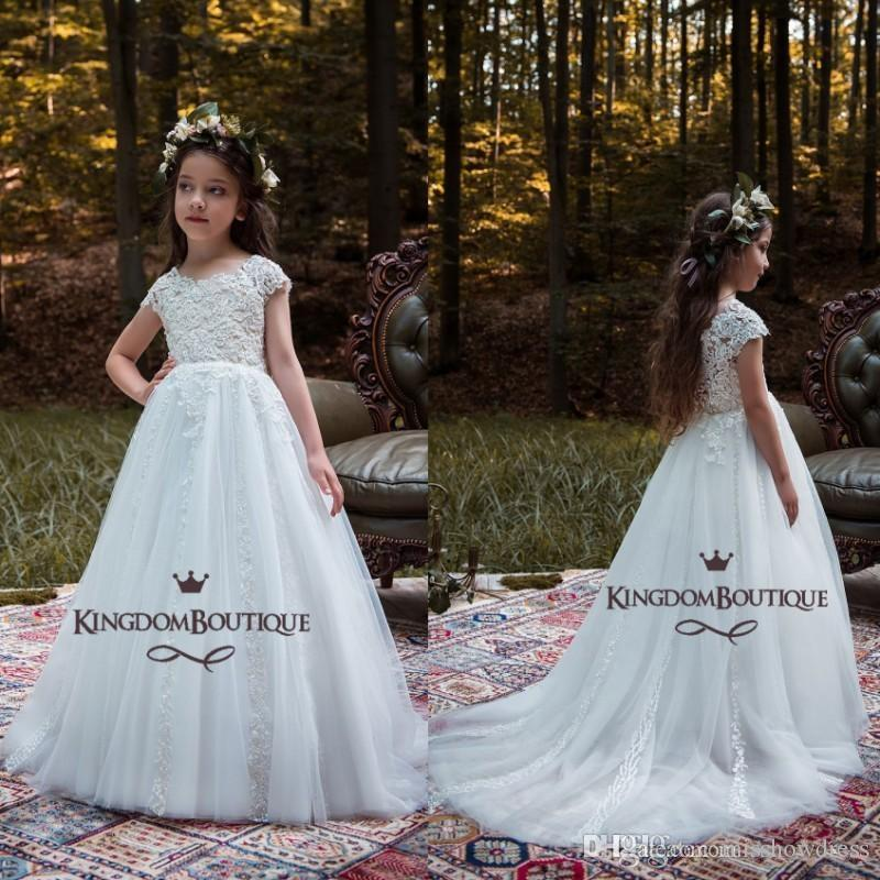 White Pretty Princess Flower Girls Dresses 2018 Lace Cap Sleeves