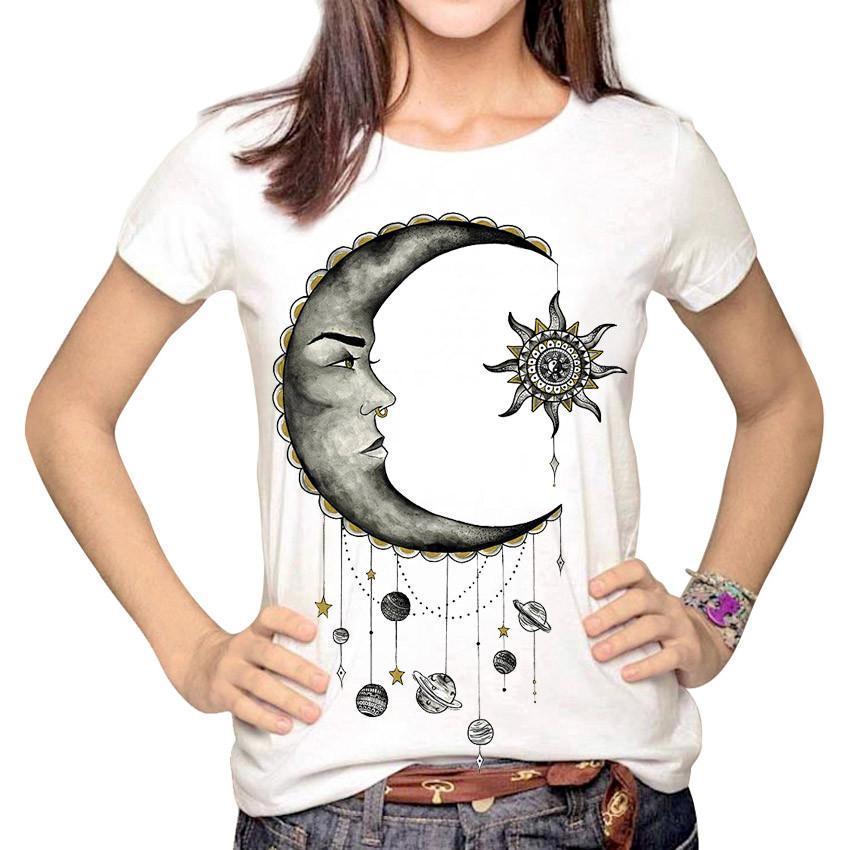 Acquista Donna Moda Hipster Sun And Moon Cartone Animato Top