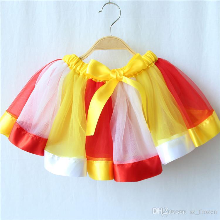 Arcobaleno Vestito Neonate Bambini Bambini Danza Tulle Tutu Gonne Pettiskirt Dancewear Balletto Dress Fancy Gonne Costume Nave Libera A-563