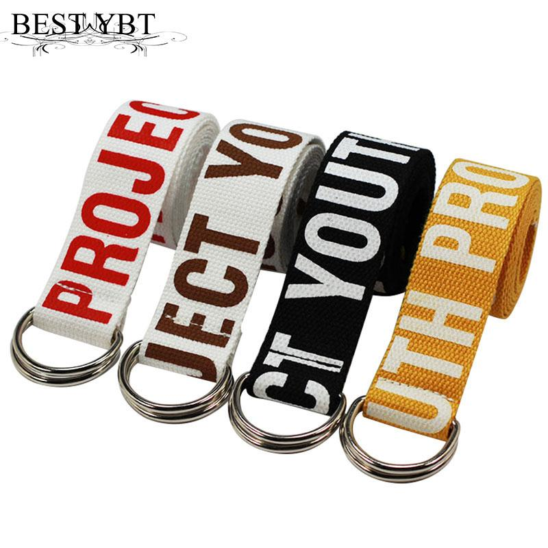 Best Ybt Unisex Belt Canvas Metal D Shaped Double Ring Button Women