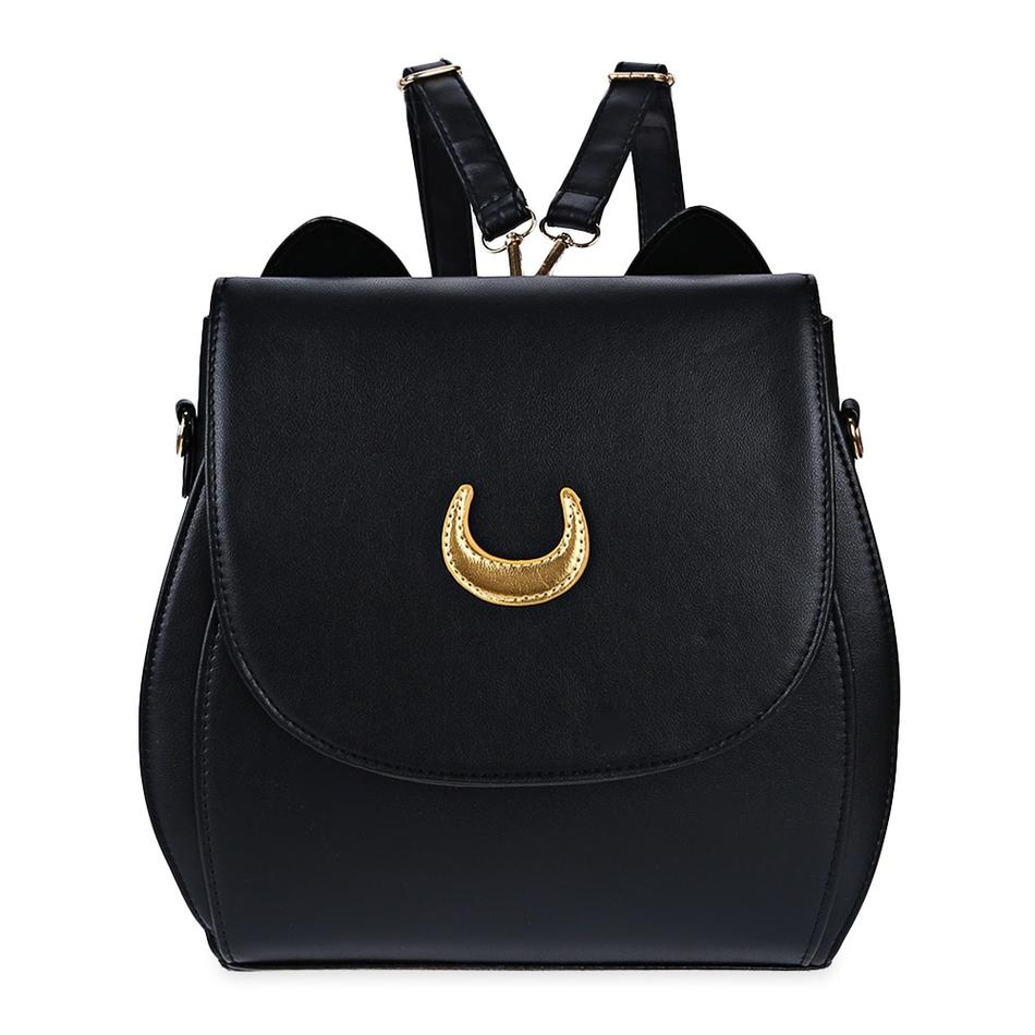 22e5a6a7ea5f Women Korean Backpack PU Leather Sailor Moon Backpack Multifunction Black  White Luna Cat Ladies Girls Travel Back Pack Best Backpack Designer  Backpacks From ...