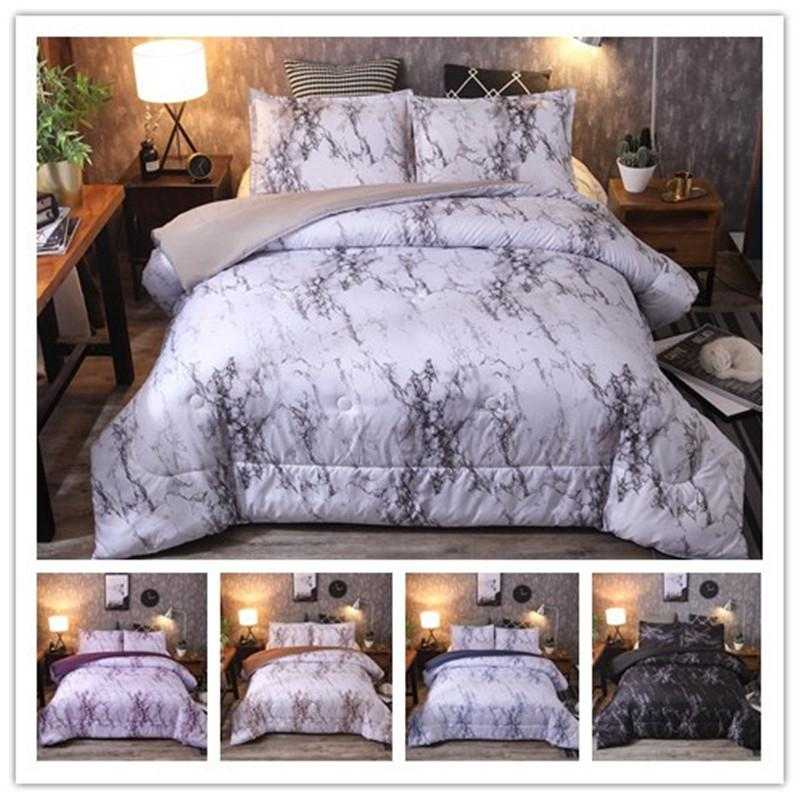 Bed Optimizer Black N White Marble Crack Realistic Comforter Set