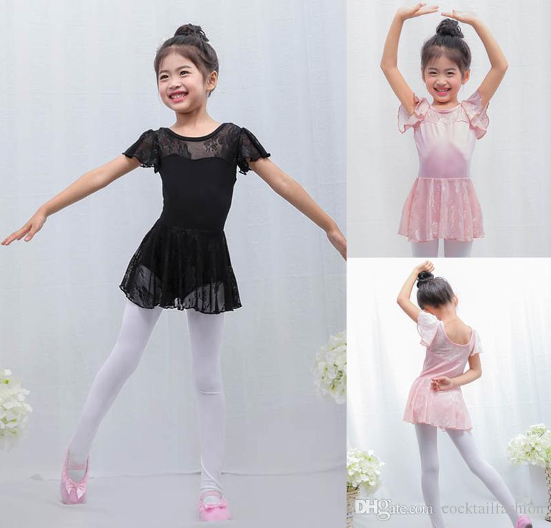 77813a88cc Compre Ballet Dança Saia Preta Rosa Ginástica Ginástica Ballet Collant  Crianças De Alta Qualidade Lace Manga Ballet Vestido De Dança De  Cocktailfashion