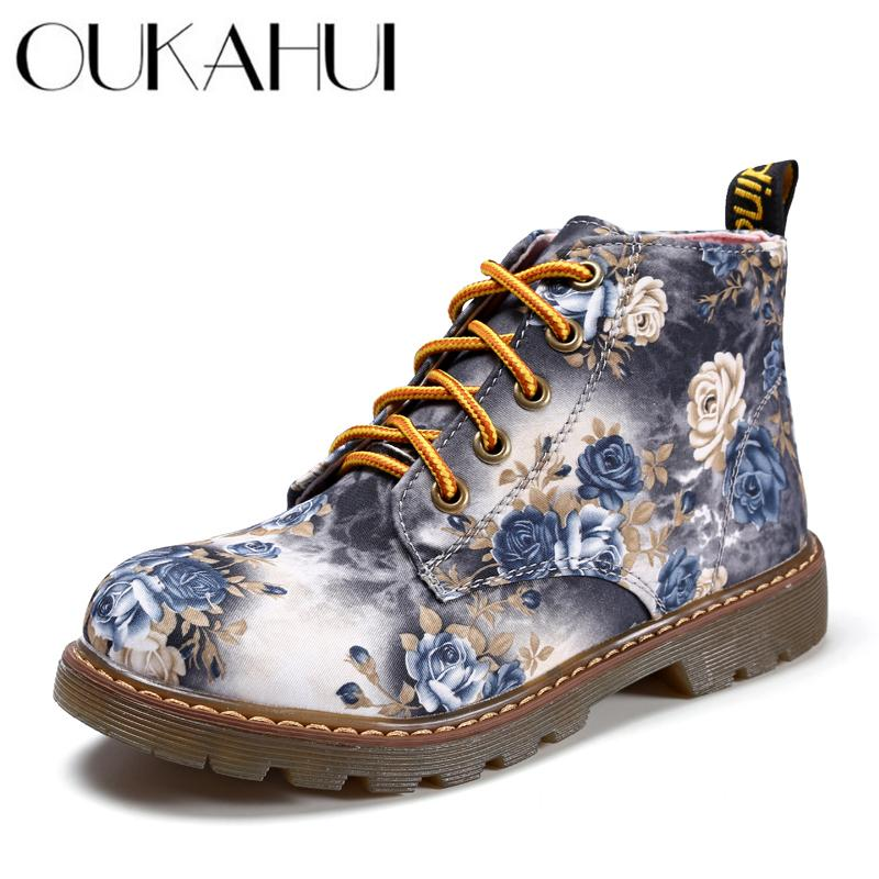 OUKAHUI British style Retro Floral lace-up martin boots women Flowers flat low heel fabric 3D printing Flower short boots female