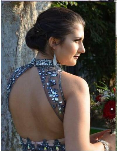 Two Piece Tulle Rom Evening Dresses High Neck Crystal Beaded Tulle Floor Length Puffy Chocolate Brown Teenage Open Back Prom Dress