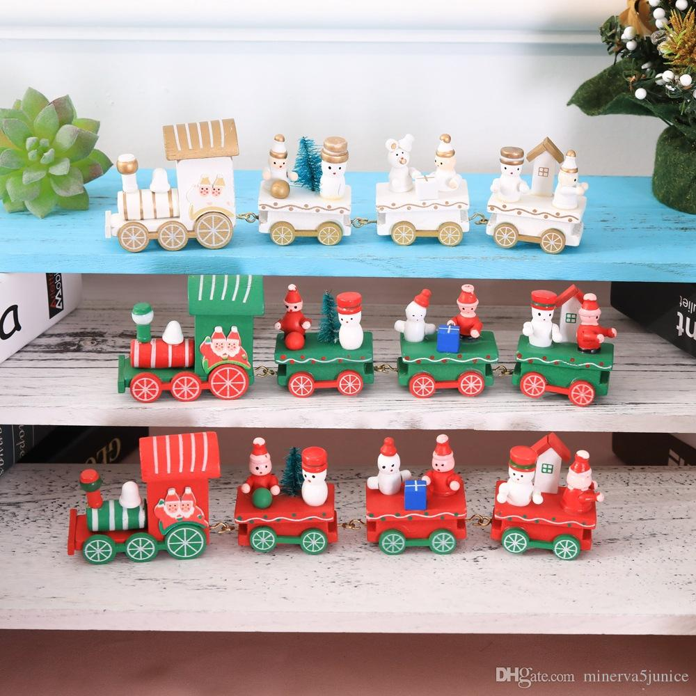2018 cute wood christmas xmas train decoration decor gift mini christmas train wooden train model vehicle toys for toddler kids decorations for birthday