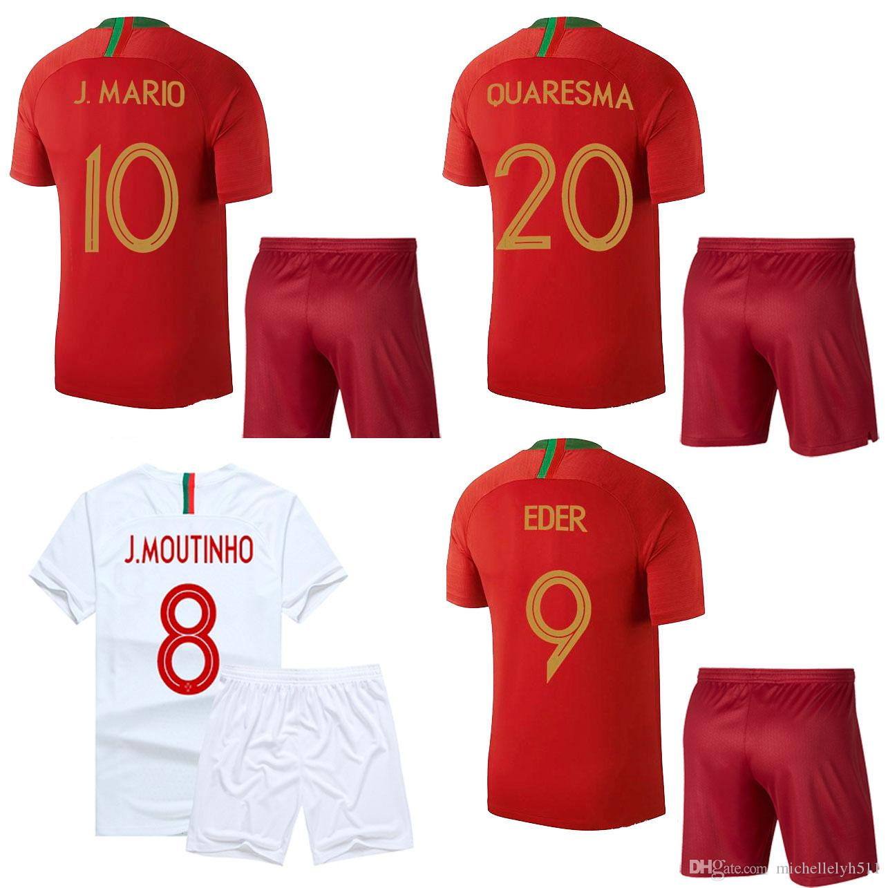 2018 2019 MOUTINHO Camiseta De Fútbol Shorts Copa Del Mundo 2018 Equipo  Nacional De Fútbol Kits QUARESMA ANDRE SILVA Manga Corta De Adulto Uniforme  ... 2d132279039cb