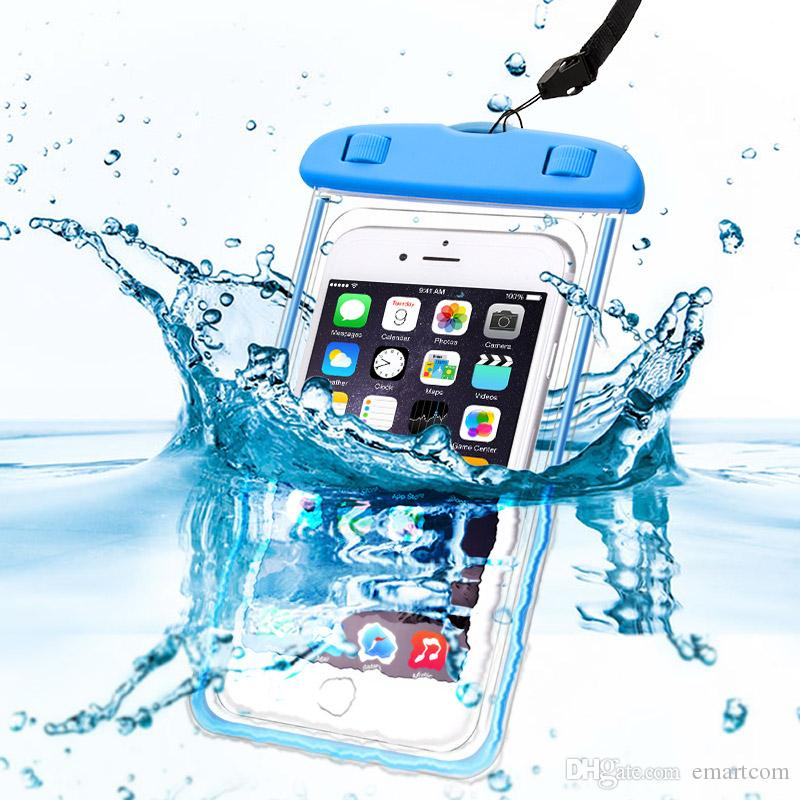 on sale 5d52a 0e0dd Waterproof Case with luminous transparent for iPhone 6S 7 Plus for Xiaomi  Redmi 3s Note 3 4 Pro MI5 Cover Waterproof Pouch