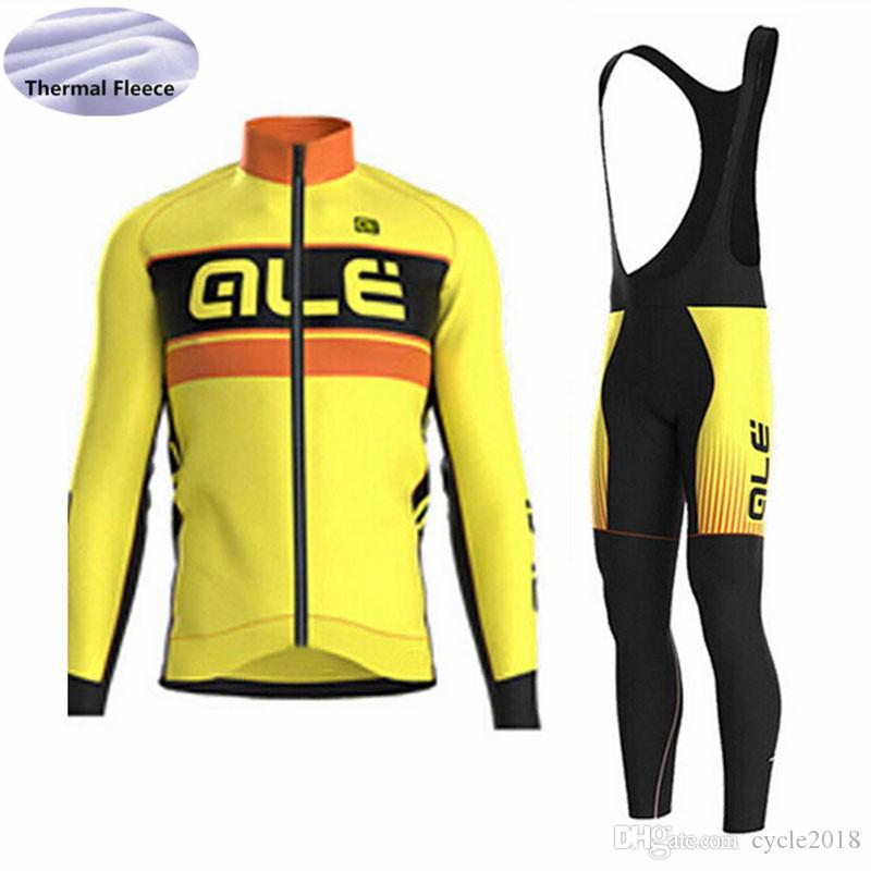 2018 New ALE Team Cycling Jersey Winter Thermal Fleece Bib Pants ... 3622ec5d3