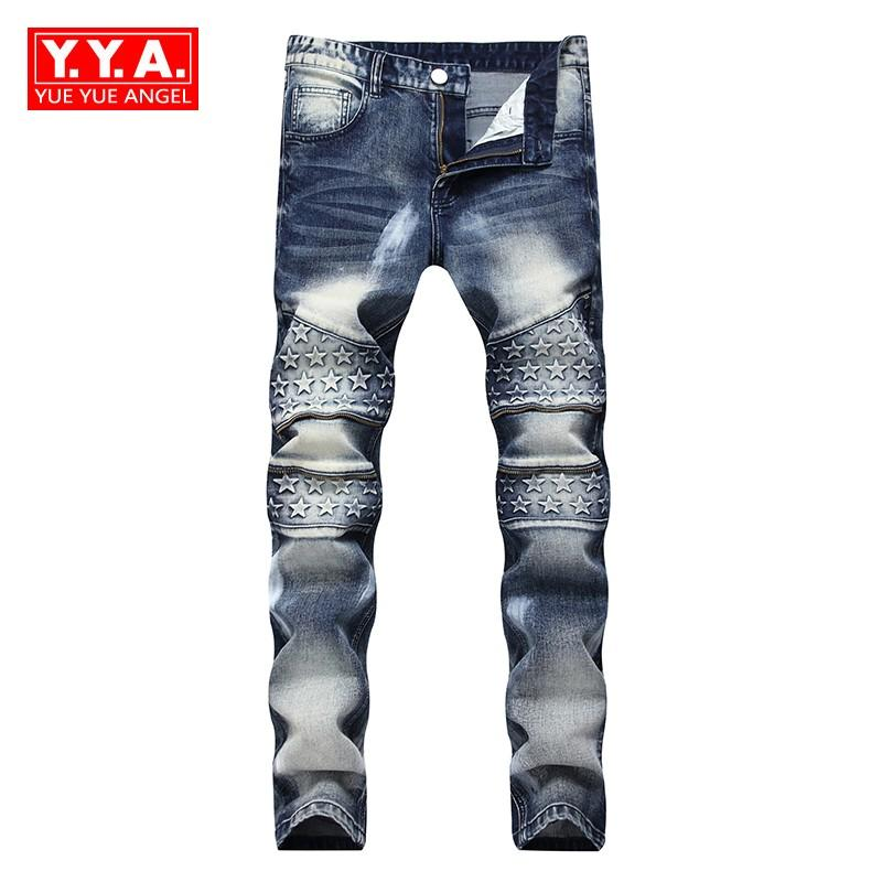 2018 Spring New Fashion Men's Biker Jeans Full Length Slim Fit Pants Man Streetwear Paint For Pant Calca Masculina Plus Size