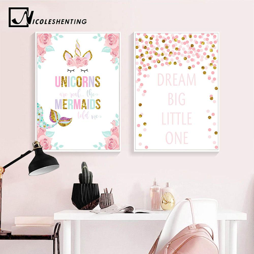 Unicorn flower canvas poster wall art nursery quotes print painting nordic kids decoration picture baby girl bedroom decor canada 2019 from blithenice
